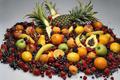 Gyümölcsök (banán, sárgabarack, alma, cseresznye, avokádó, mazsola)